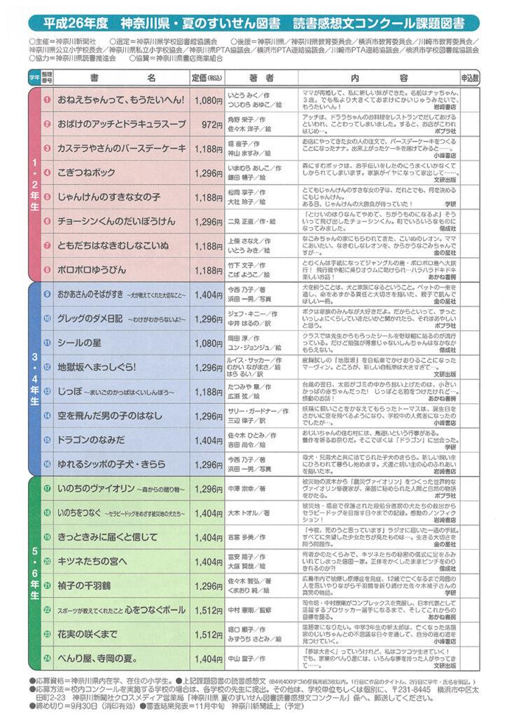 神奈川県 平成26年度 夏のすいせん図書読書感想文コンクール 課題図書 裏