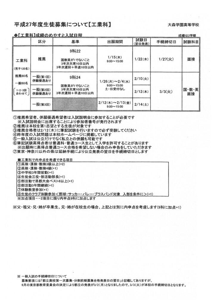大森学園 平成27年度生徒募集について【工業科】