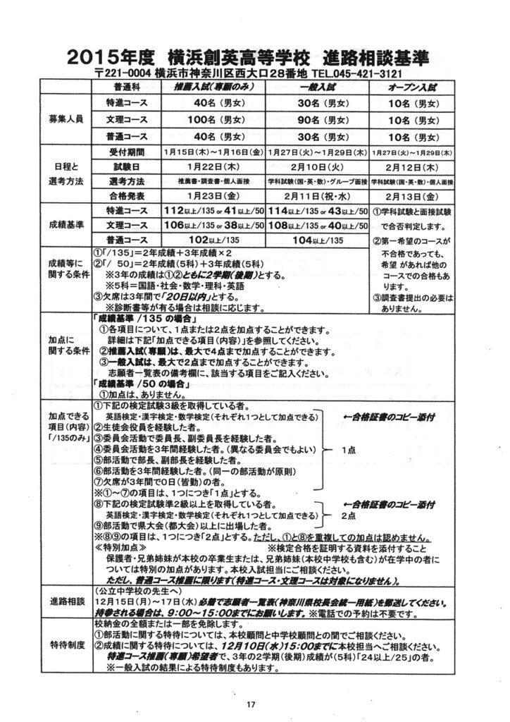 横浜創英高校2015年度進路相談基準