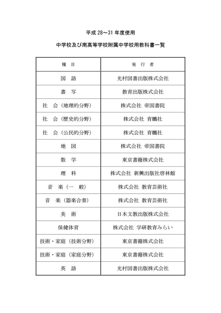 横浜市立中学校 教科書採択一覧 平成28~31年度