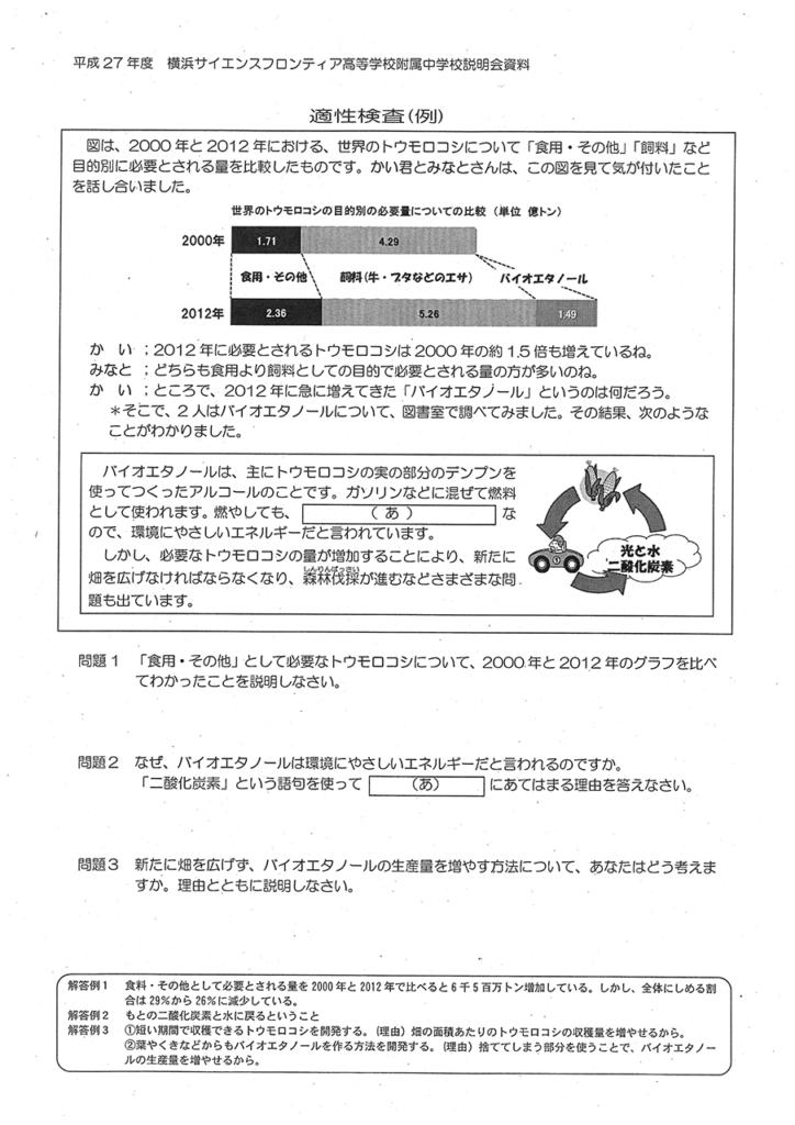 横浜サイエンスフロンティア高校適性検査出題例
