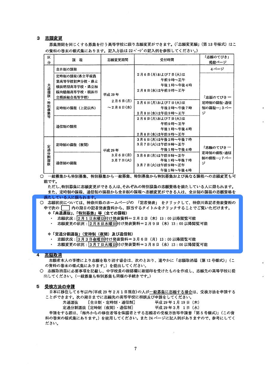 平成29年度神奈川県公立高等学校入学者選抜 志願者説明会資料及び様式集7ページ