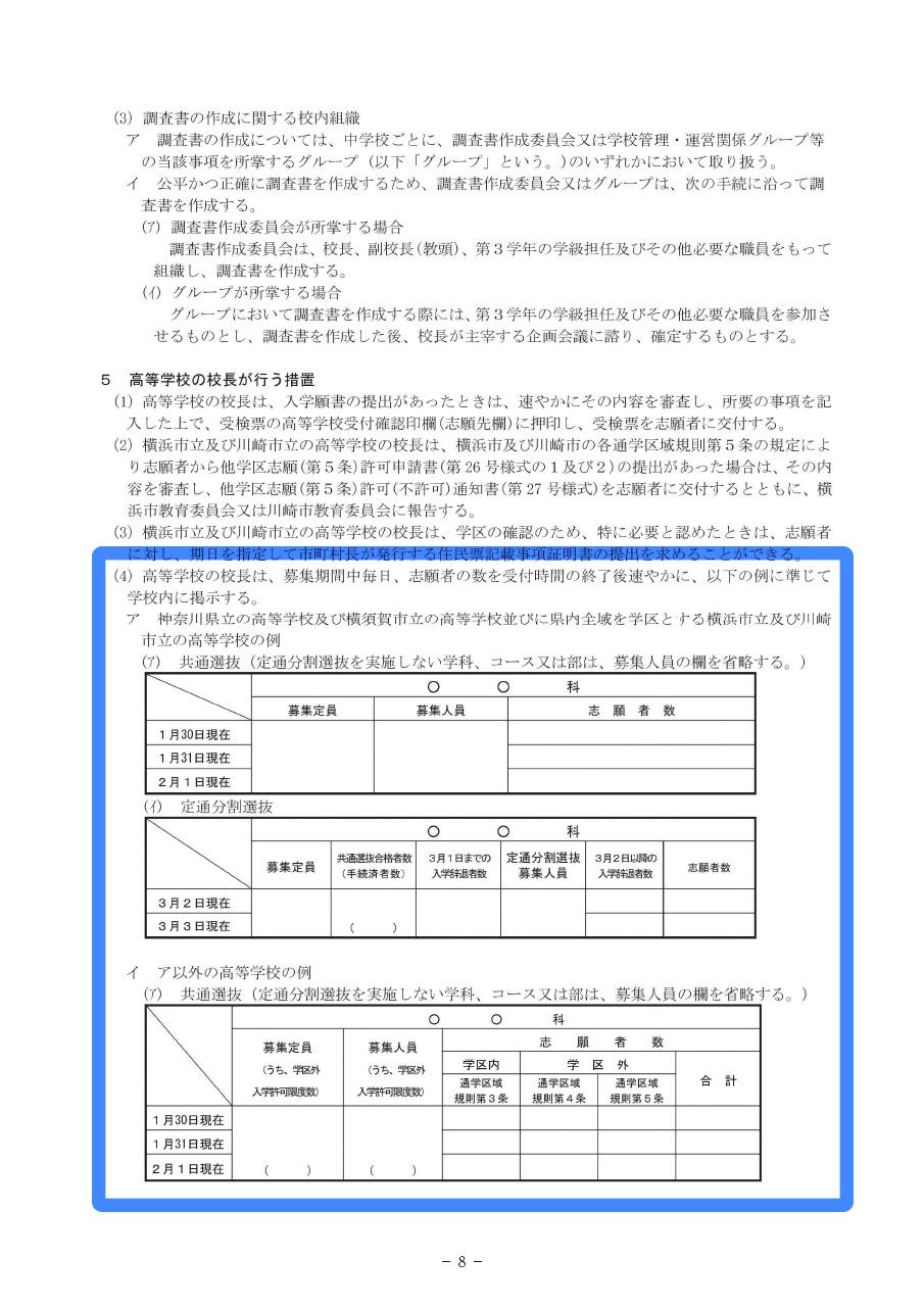 平成29年度神奈川県公立高等学校の入学者の募集及び選抜実施要領 8ページ