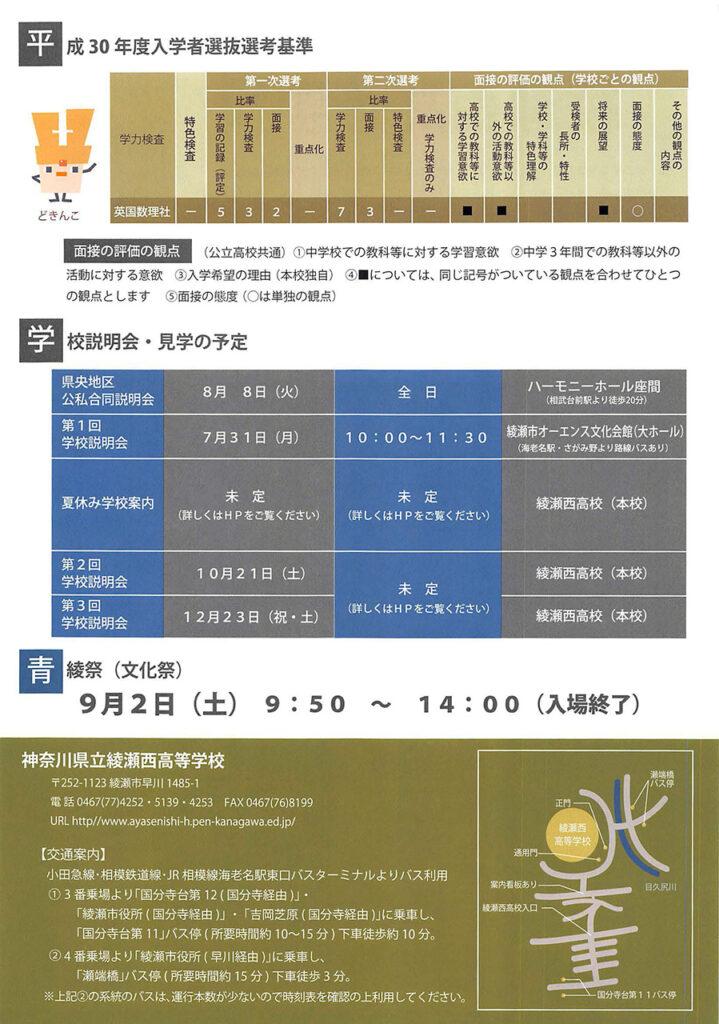 神奈川県立綾瀬西高等学校 平成30年度入試向けチラシ裏