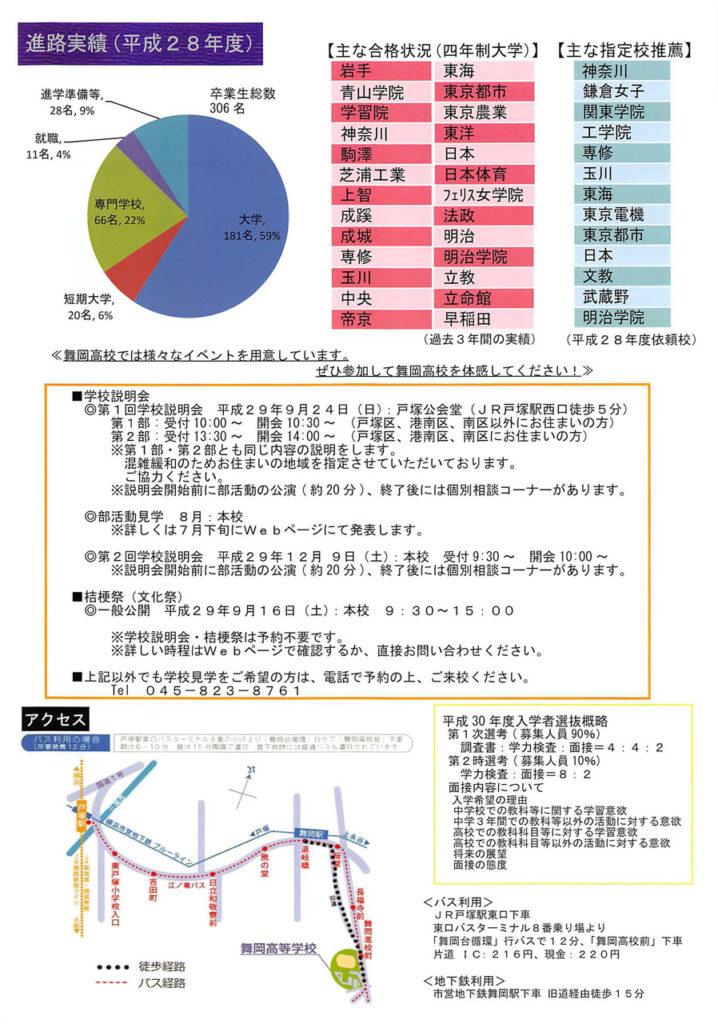 神奈川県立舞岡高等学校 平成30年度入試向けチラシ裏