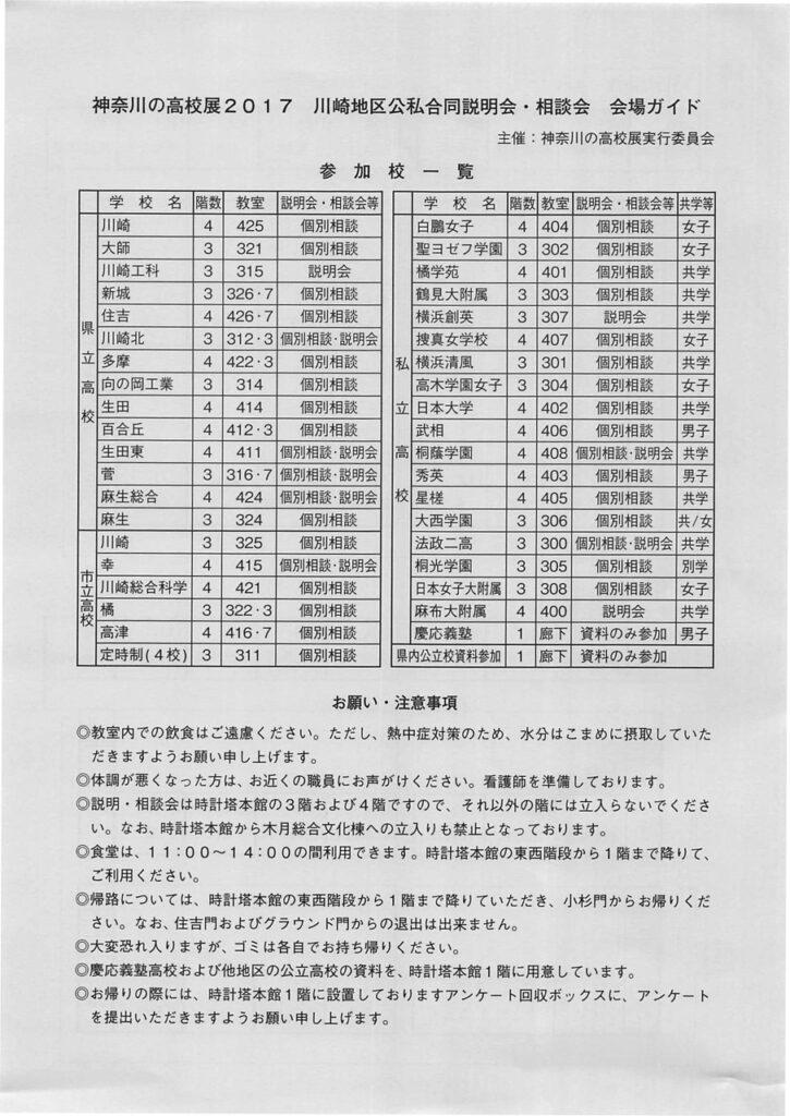 平成29年度 川崎地区公私合同説明・相談会ガイド 表