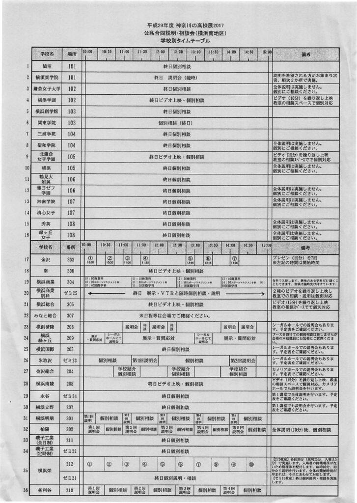 平成29年度 横浜南地区公私合同説明・相談会 会場タイムテーブル