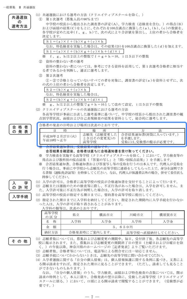 平成30年度神奈川県公立高校入試『志願のてびき』7ページ(2)