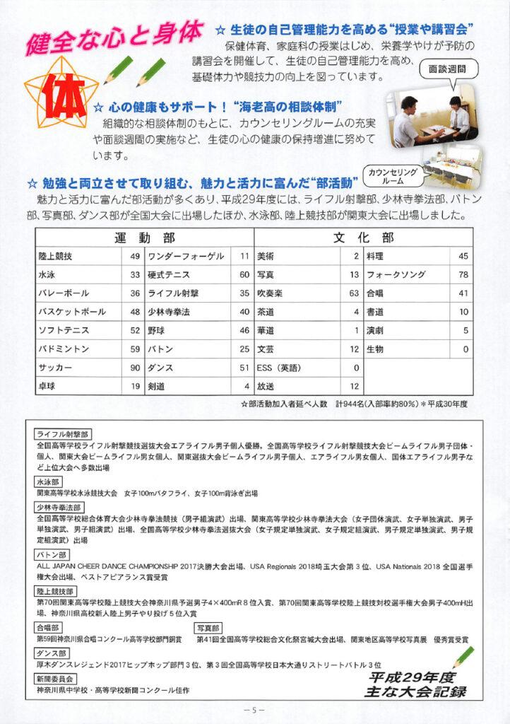 海老名高等学校 平成31年度入試向けパンフレット 5ページ